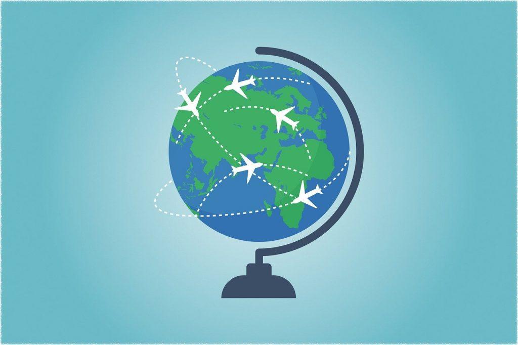 illustration des voies aériennes autour d'un globe terrestre